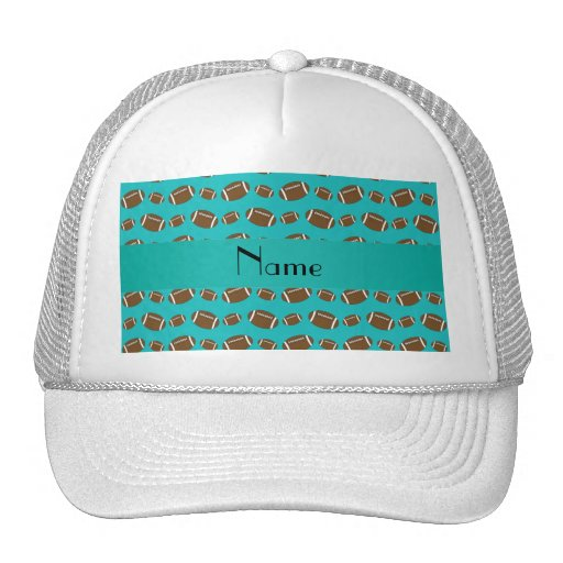 Personalized name turquoise footballs trucker hats