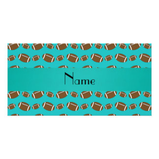 Personalized name turquoise footballs personalized photo card
