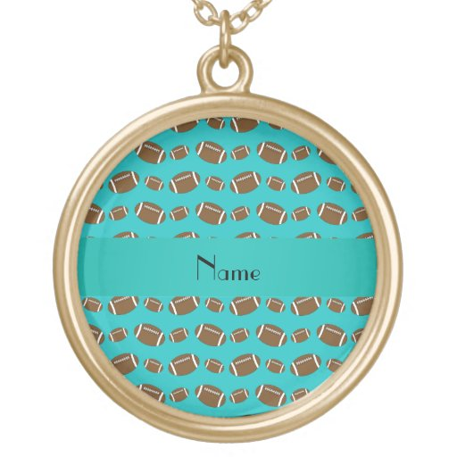 Personalized name turquoise footballs round pendant necklace