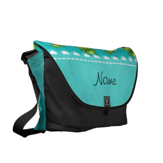 Personalized name turquoise frogs messenger bag