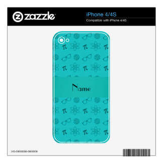 Personalized name turquoise geek pattern decals for the iPhone 4S