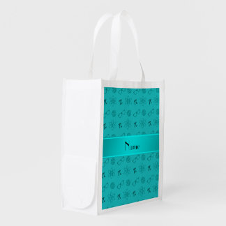 Personalized name turquoise geek pattern reusable grocery bags