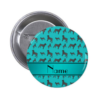 Personalized name turquoise Giant Schnauzer dogs 2 Inch Round Button
