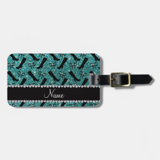 Personalized name turquoise glitter boots bows luggage tag