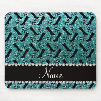 Personalized name turquoise glitter boots bows mouse pad