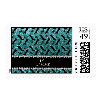 Personalized name turquoise glitter boots bows postage