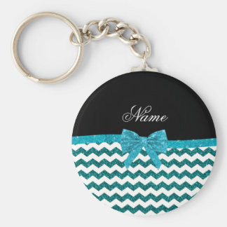 Personalized name turquoise glitter chevrons bow keychain
