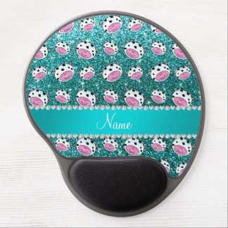 Personalized name turquoise glitter cow heads gel mouse pad