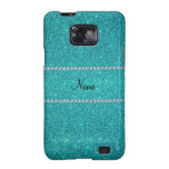 Personalized name turquoise glitter diamonds samsung galaxy SII covers