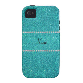 Personalized name turquoise glitter diamonds Case-Mate iPhone 4 cases