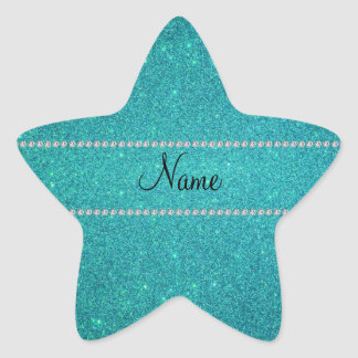 Personalized name turquoise glitter diamonds star sticker