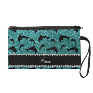 Personalized name turquoise glitter dolphins wristlet purses