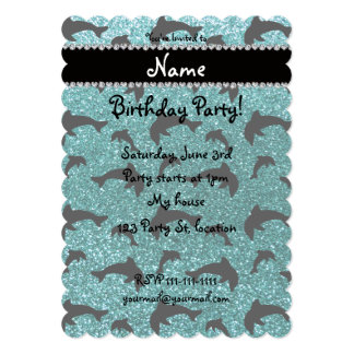 Personalized name turquoise glitter dolphins card