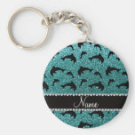 Personalized name turquoise glitter dolphins keychain