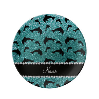 Personalized name turquoise glitter dolphins porcelain plates
