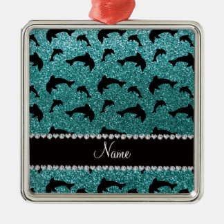 Personalized name turquoise glitter dolphins christmas ornament