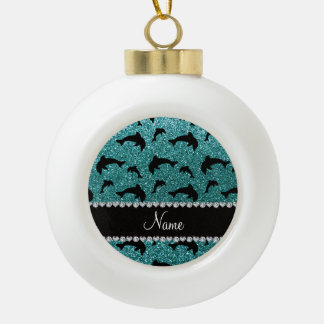 Personalized name turquoise glitter dolphins ornament