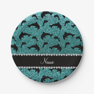 Personalized name turquoise glitter dolphins 7 inch paper plate