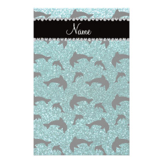 Personalized name turquoise glitter dolphins stationery