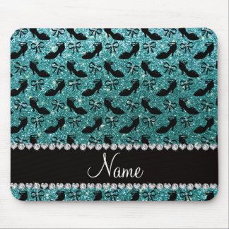 Personalized name turquoise glitter fancy shoe bow mouse pad
