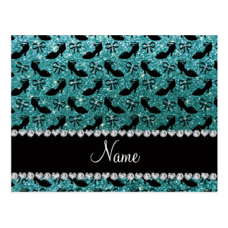 Personalized name turquoise glitter fancy shoe bow postcard