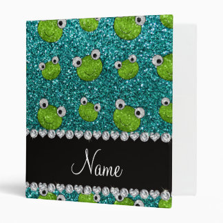 Personalized name turquoise glitter frogs binder