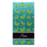 Personalized name turquoise glitter frogs photo card