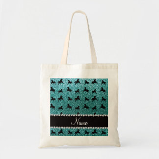 Personalized name turquoise glitter horses canvas bag