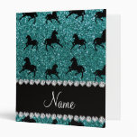 Personalized name turquoise glitter horses 3 ring binders