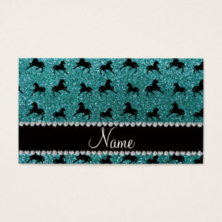 Personalized name turquoise glitter horses business card
