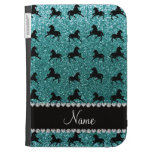 Personalized name turquoise glitter horses case for the kindle