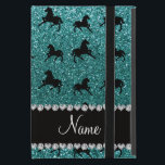 """Personalized name turquoise glitter horses iPad mini cover<br><div class=""""desc"""">Modern and trendy turquoise horse glitter (FAUX NOT REAL GLITTER) pattern and bling black diamonds (not real diamonds) with fancy hearts and dots stripe personalized with your name gifts or monogram gifts or your initials. Girly glitter gift ideas for birthdays and horse lovers. If you hit the customize it button...</div>"""