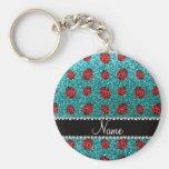 Personalized name turquoise glitter ladybug key chain