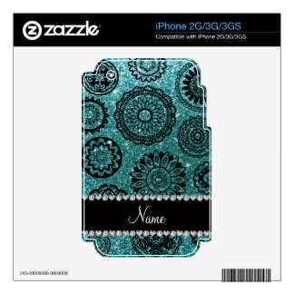 Personalized name turquoise glitter mandalas skins for the iPhone 3GS