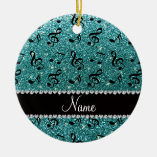 Personalized name turquoise glitter music notes ceramic ornament