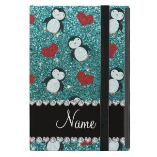 Personalized name turquoise glitter penguins heart case for iPad mini