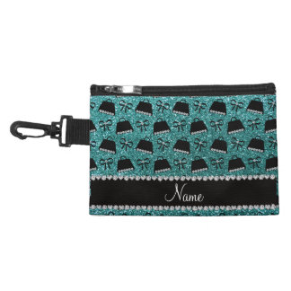Personalized name turquoise glitter purses bow accessories bags