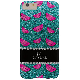 Personalized name turquoise glitter watermelons barely there iPhone 6 plus case