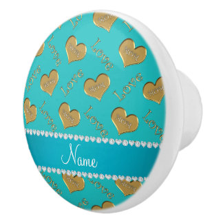 Personalized name turquoise gold hearts mom love ceramic knob