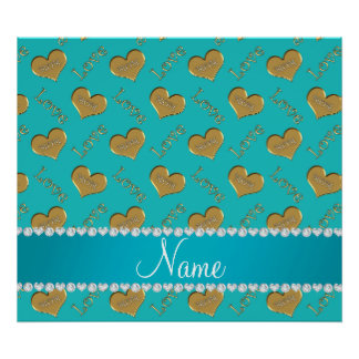 Personalized name turquoise gold hearts mom love poster