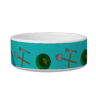 Personalized name turquoise gold mining pet bowls