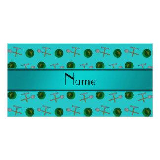 Personalized name turquoise gold mining customized photo card