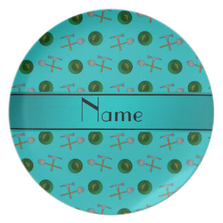 Personalized name turquoise gold mining party plates
