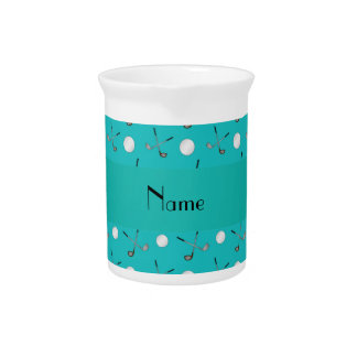 Personalized name turquoise golf balls pitchers