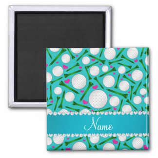 Personalized name turquoise golf balls tees hearts 2 inch square magnet