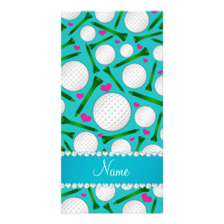 Personalized name turquoise golf balls tees hearts photo card