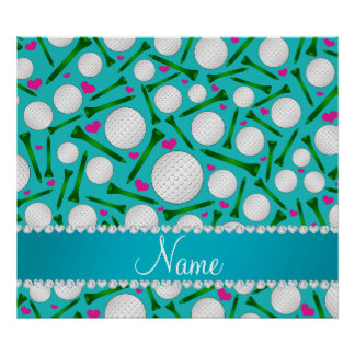 Personalized name turquoise golf balls tees hearts poster