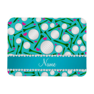 Personalized name turquoise golf balls tees hearts rectangular photo magnet