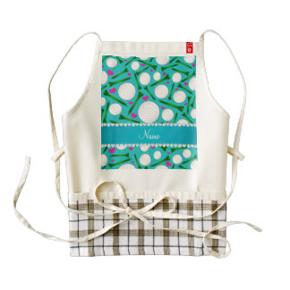 Personalized name turquoise golf balls tees hearts zazzle HEART apron