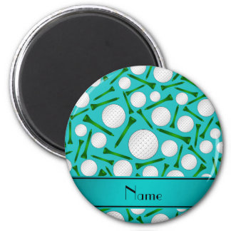 Personalized name turquoise golf balls tees refrigerator magnets
